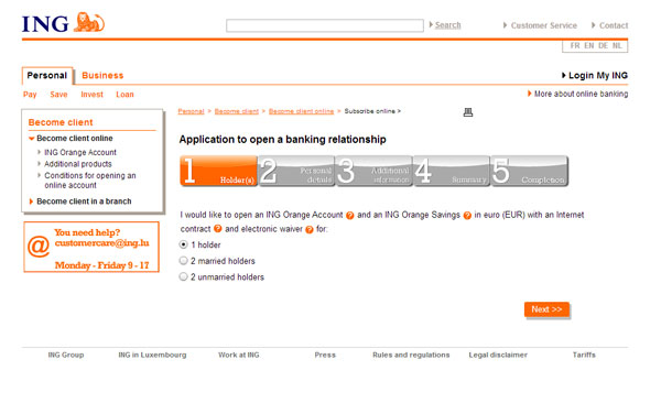 ING Luxembourg cuenta bancaria online